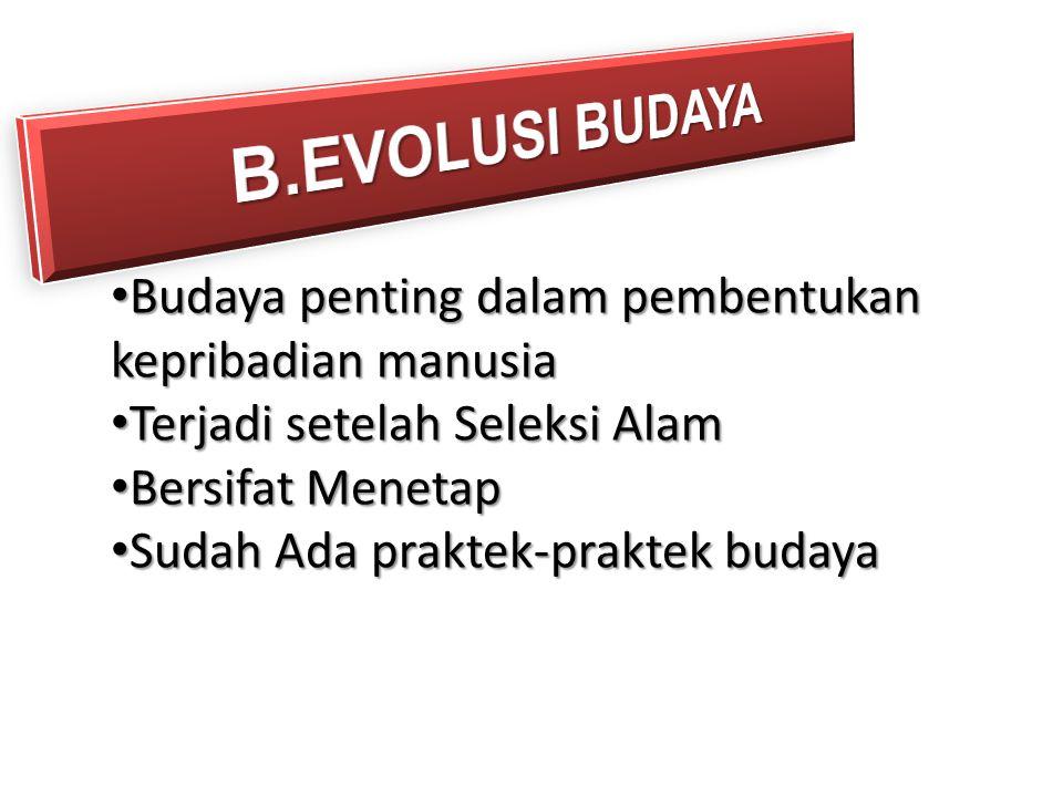 B.EVOLUSI BUDAYA Budaya penting dalam pembentukan kepribadian manusia