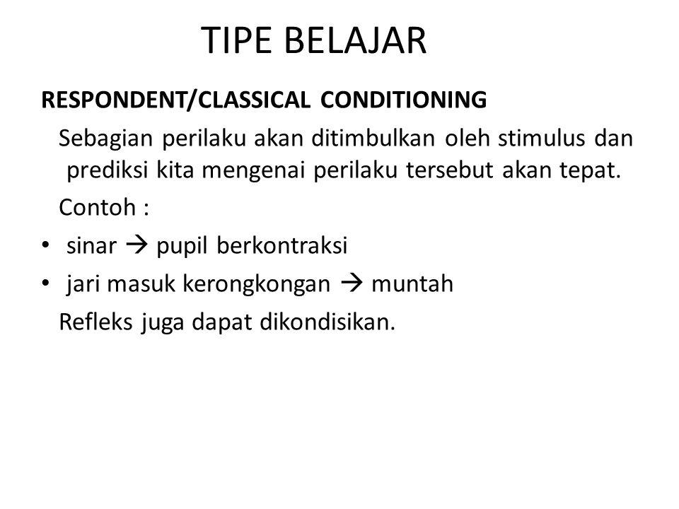 TIPE BELAJAR RESPONDENT/CLASSICAL CONDITIONING