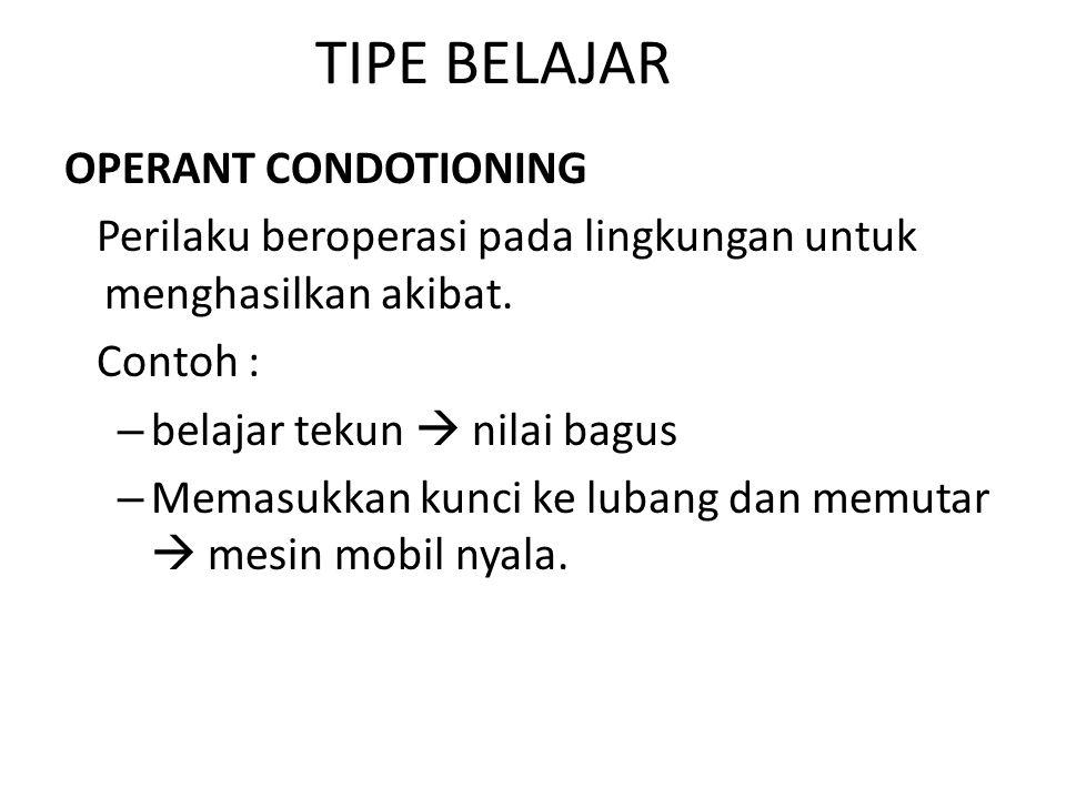 TIPE BELAJAR OPERANT CONDOTIONING