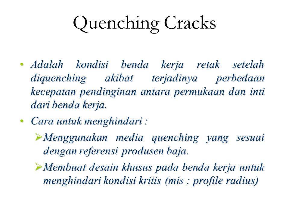 Quenching Cracks