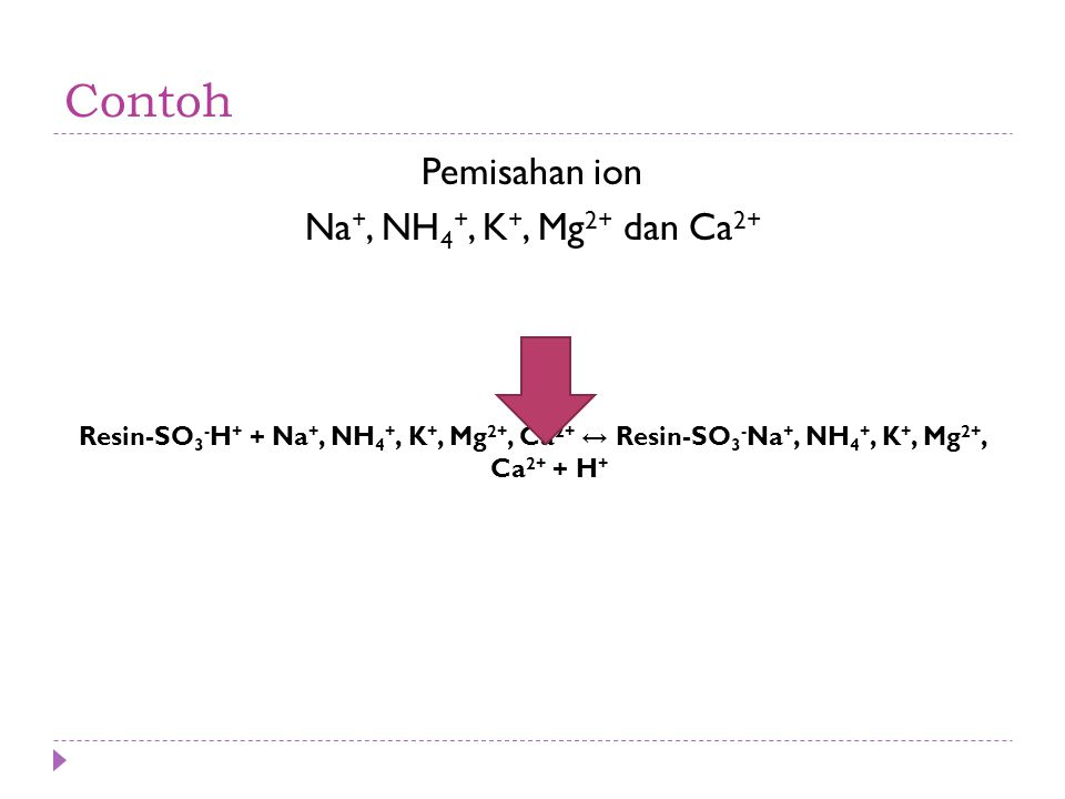 Contoh Pemisahan ion Na+, NH4+, K+, Mg2+ dan Ca2+