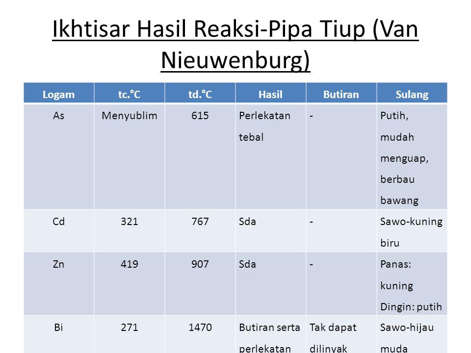 Ikhtisar Hasil Reaksi-Pipa Tiup (Van Nieuwenburg)