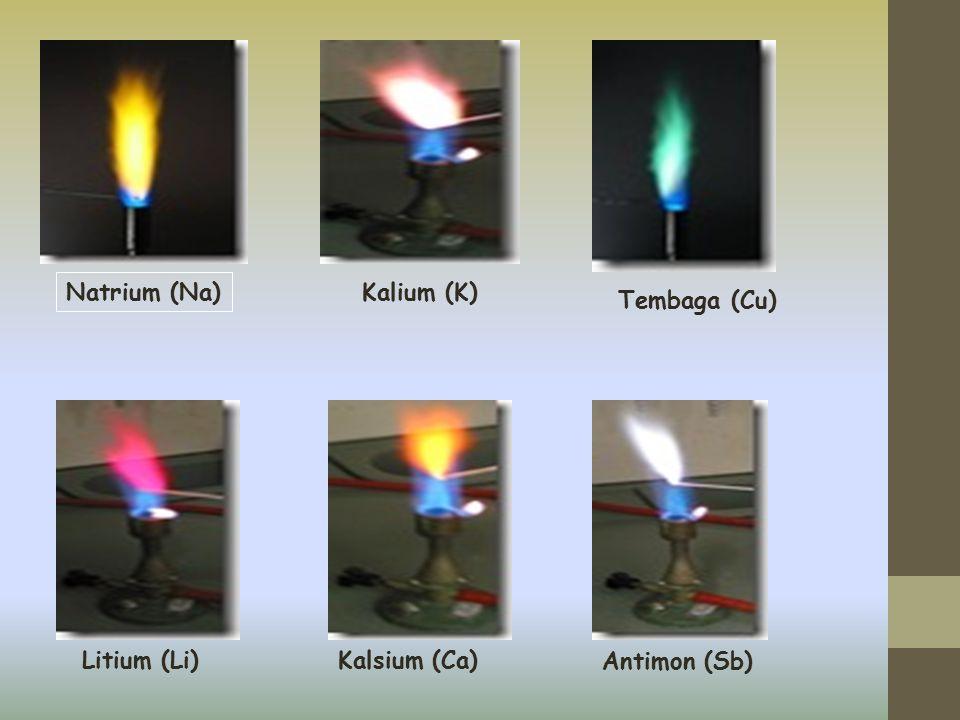 Natrium (Na) Kalium (K) Tembaga (Cu) Litium (Li) Kalsium (Ca) Antimon (Sb)
