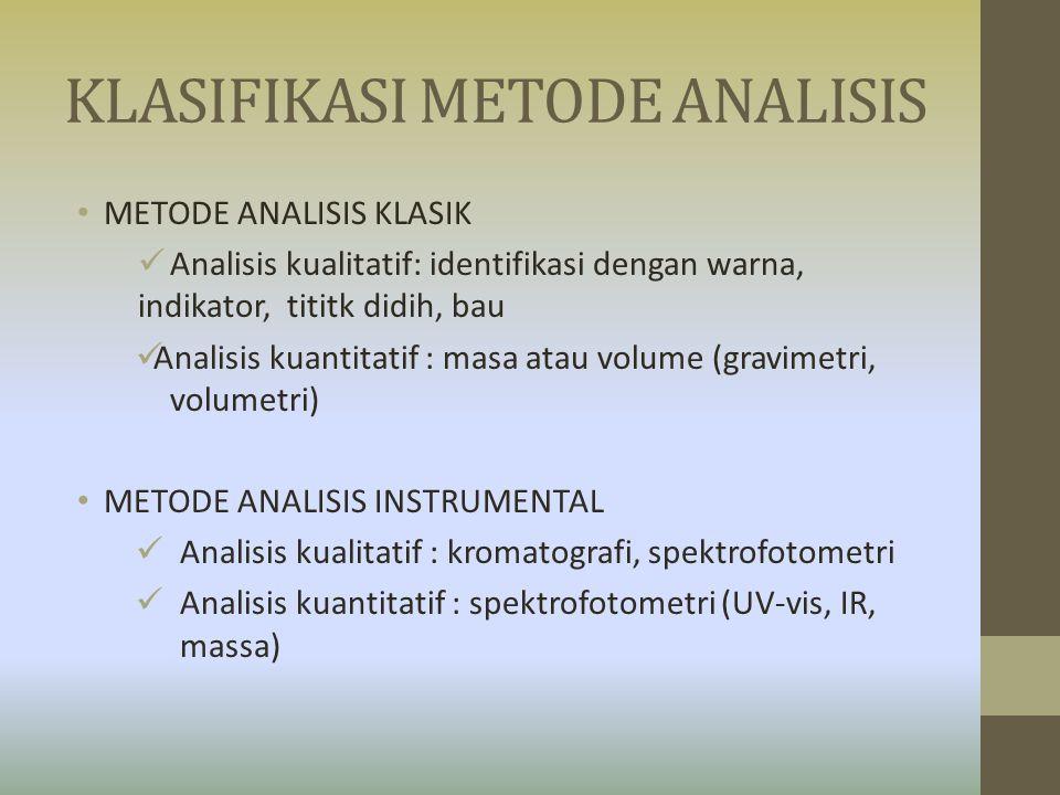 KLASIFIKASI METODE ANALISIS