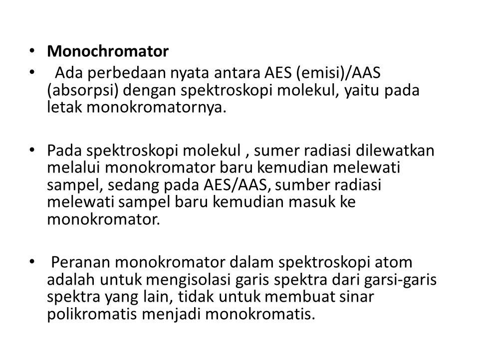 Monochromator Ada perbedaan nyata antara AES (emisi)/AAS (absorpsi) dengan spektroskopi molekul, yaitu pada letak monokromatornya.