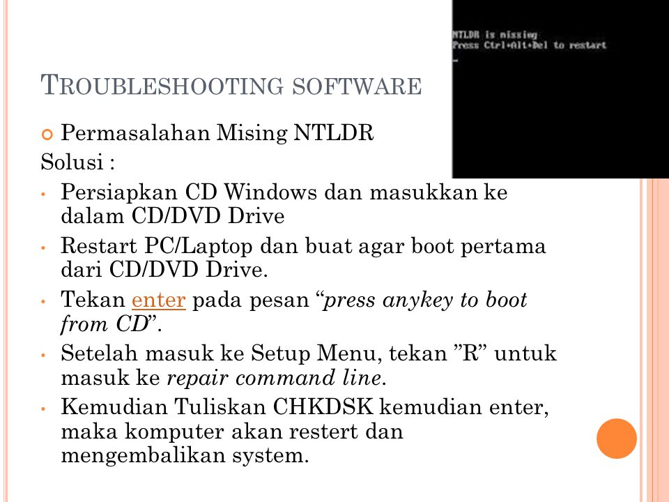 Troubleshooting software