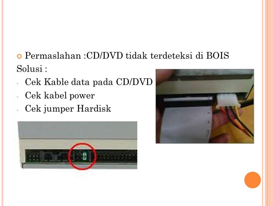 Permaslahan :CD/DVD tidak terdeteksi di BOIS