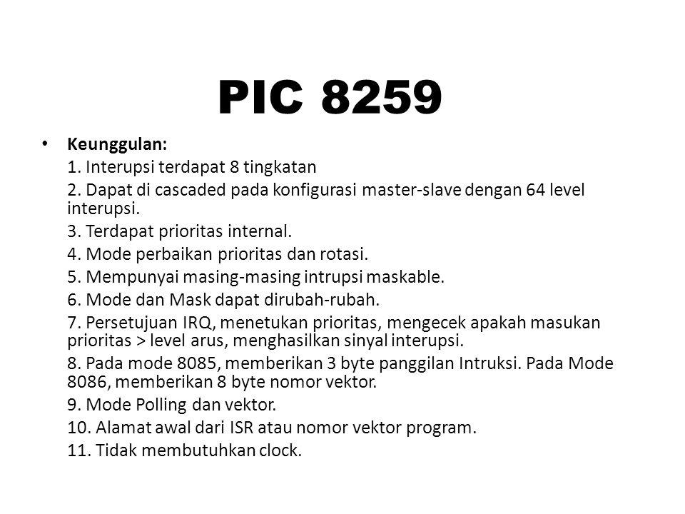 PIC 8259 Keunggulan: 1. Interupsi terdapat 8 tingkatan