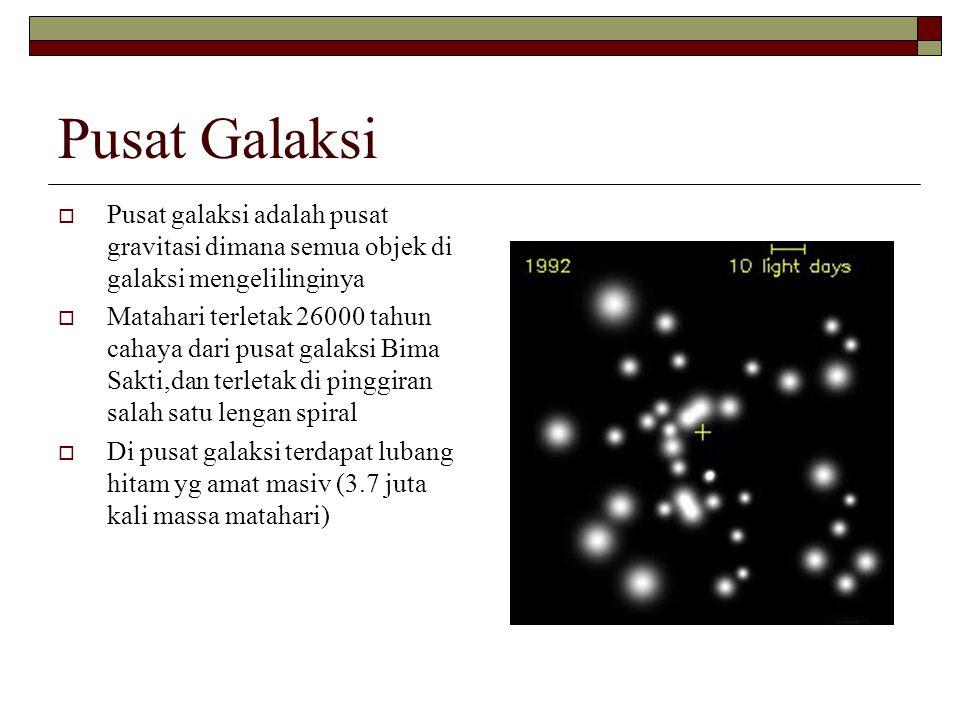 Pusat Galaksi Pusat galaksi adalah pusat gravitasi dimana semua objek di galaksi mengelilinginya.