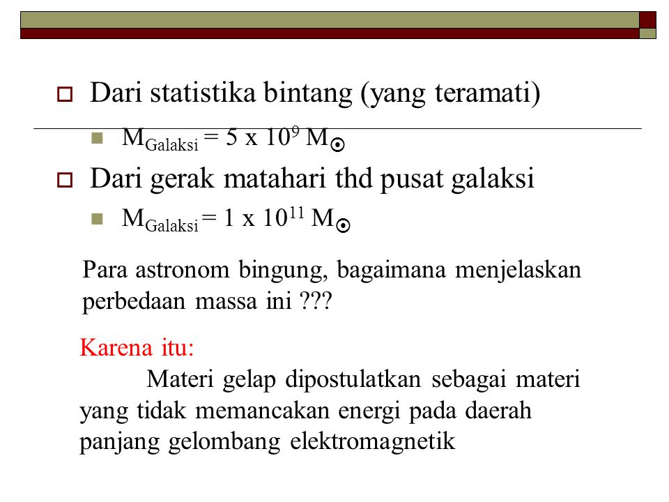 Dari statistika bintang (yang teramati)