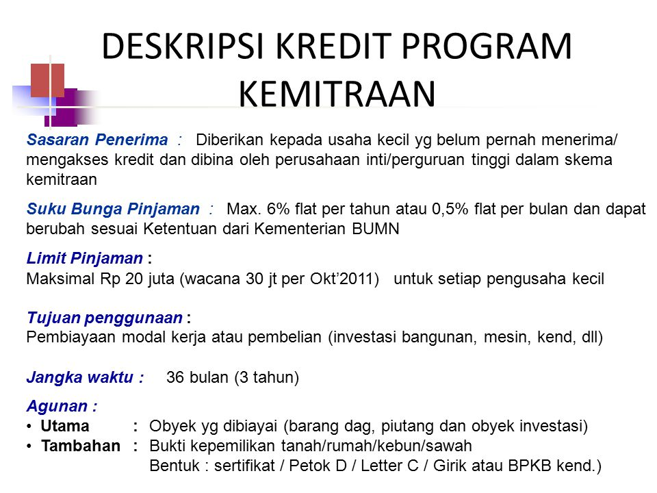 DESKRIPSI KREDIT PROGRAM KEMITRAAN