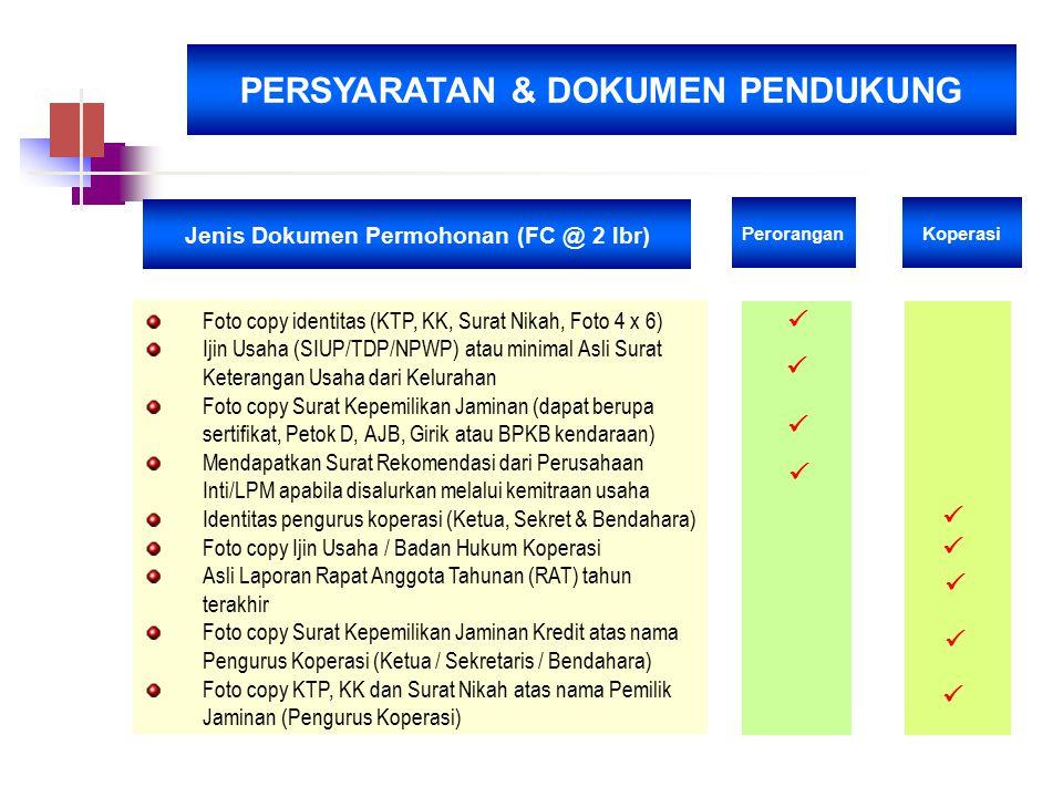 PERSYARATAN & DOKUMEN PENDUKUNG Jenis Dokumen Permohonan (FC @ 2 lbr)