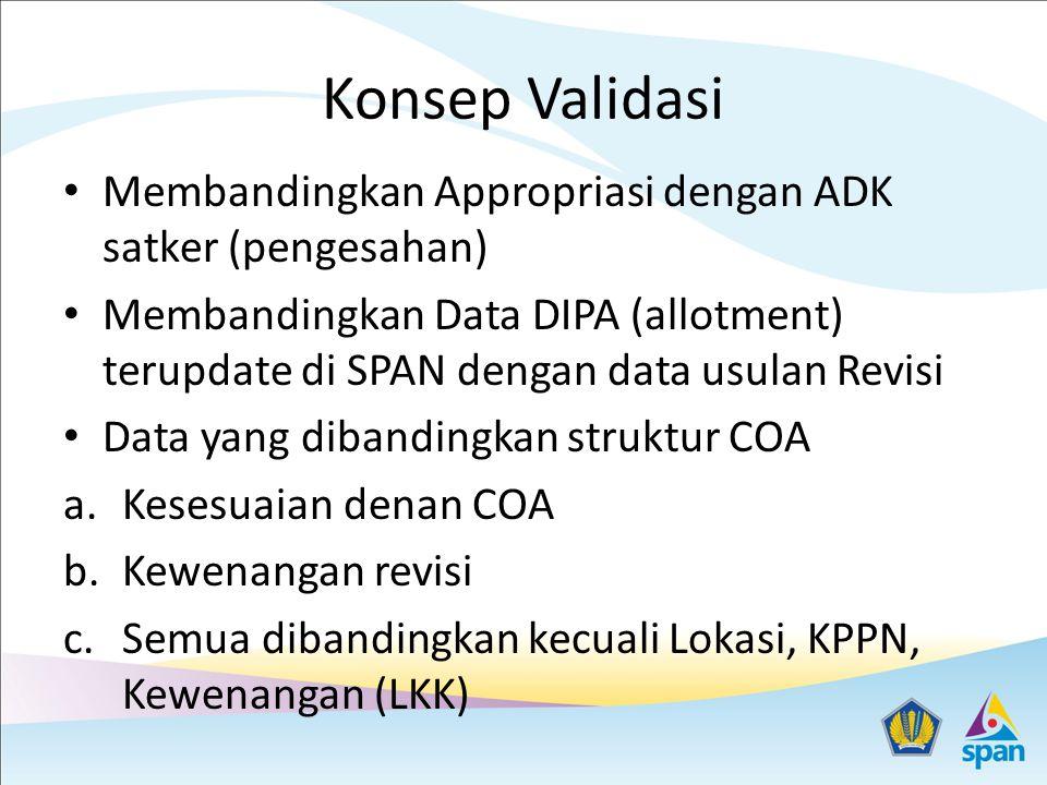 Konsep Validasi Membandingkan Appropriasi dengan ADK satker (pengesahan)