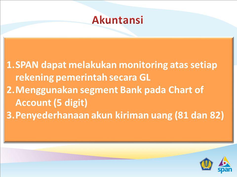 Akuntansi SPAN dapat melakukan monitoring atas setiap rekening pemerintah secara GL. Menggunakan segment Bank pada Chart of Account (5 digit)