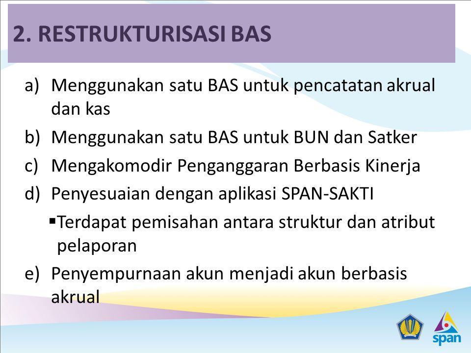 2. RESTRUKTURISASI BAS Menggunakan satu BAS untuk pencatatan akrual dan kas. Menggunakan satu BAS untuk BUN dan Satker.