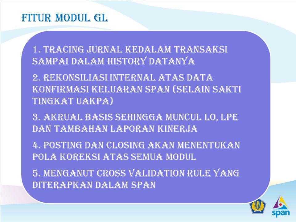 Fitur modul gl 1. Tracing jurnal kedalam transaksi sampai dalam history datanya.