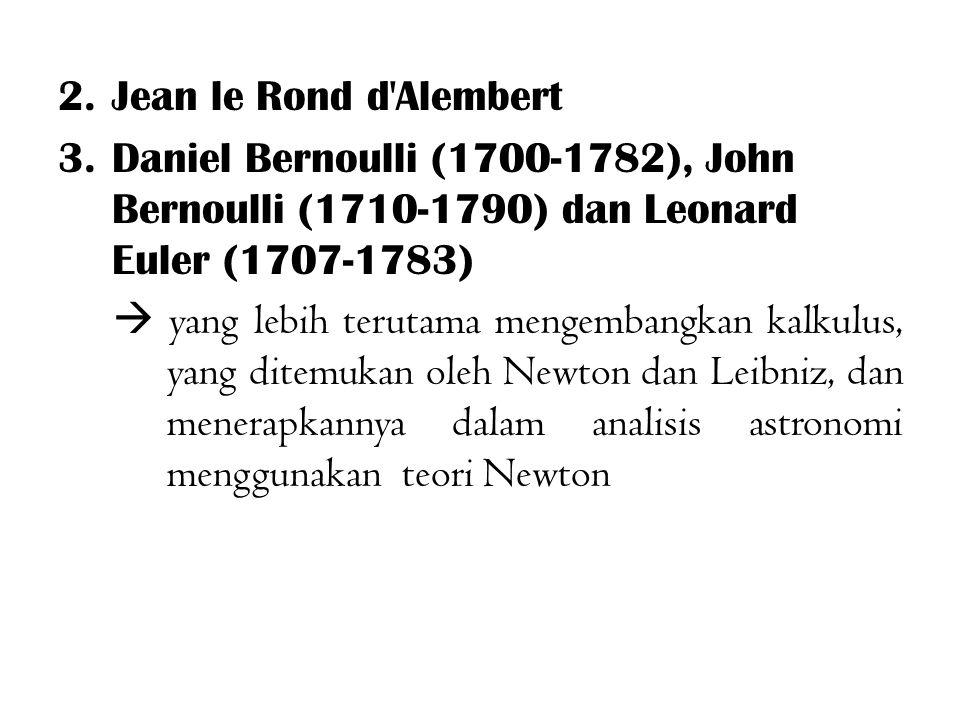 Jean le Rond d Alembert Daniel Bernoulli (1700-1782), John Bernoulli (1710-1790) dan Leonard Euler (1707-1783)