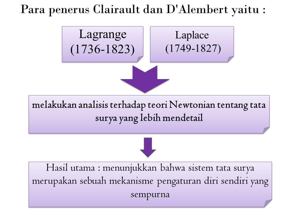 Para penerus Clairault dan D Alembert yaitu :