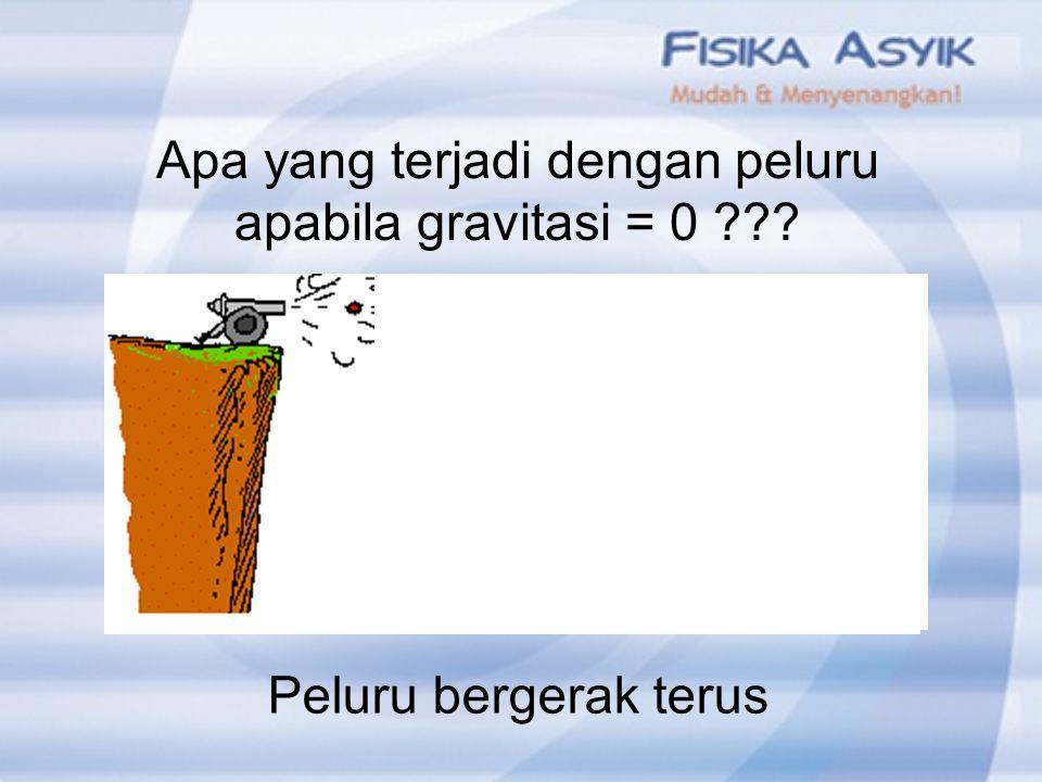 Apa yang terjadi dengan peluru apabila gravitasi = 0