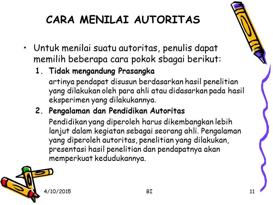 CARA MENILAI AUTORITAS