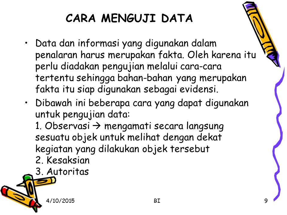 CARA MENGUJI DATA