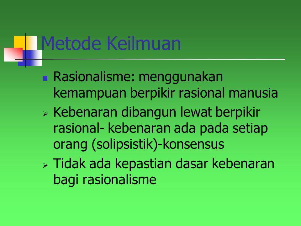 Metode Keilmuan Rasionalisme: menggunakan kemampuan berpikir rasional manusia.