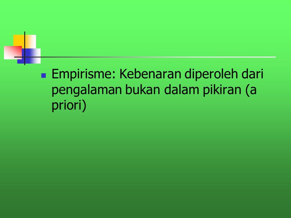 Empirisme: Kebenaran diperoleh dari pengalaman bukan dalam pikiran (a priori)