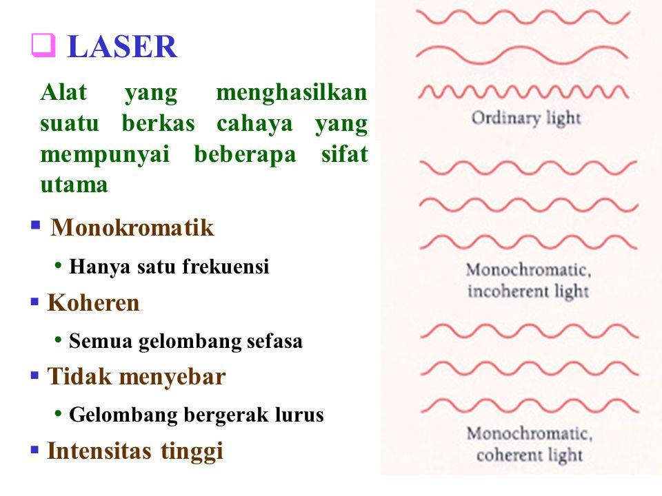 LASER Alat yang menghasilkan suatu berkas cahaya yang mempunyai beberapa sifat utama. Monokromatik.