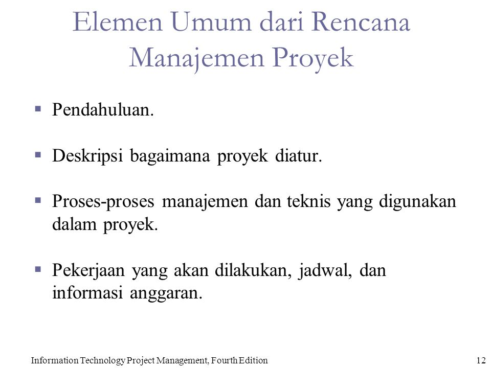 Elemen Umum dari Rencana Manajemen Proyek