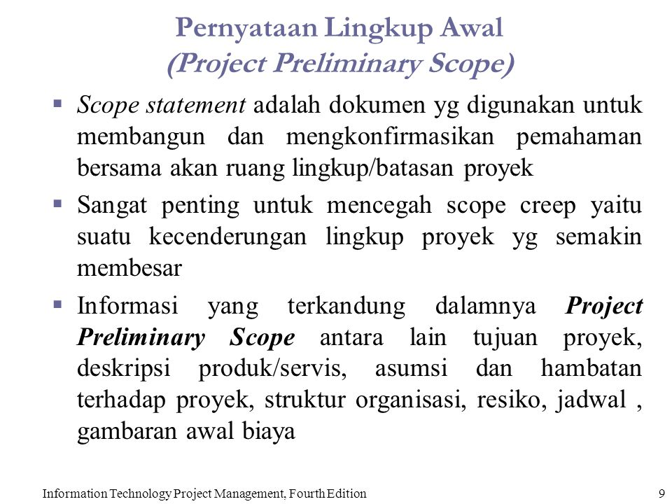 Pernyataan Lingkup Awal (Project Preliminary Scope)