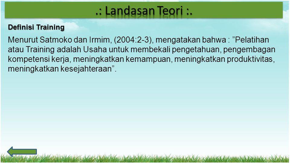 .: Landasan Teori :. Definisi Training.