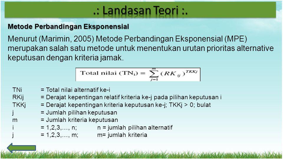 .: Landasan Teori :. Metode Perbandingan Eksponensial.