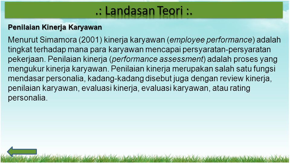 .: Landasan Teori :. Penilaian Kinerja Karyawan.