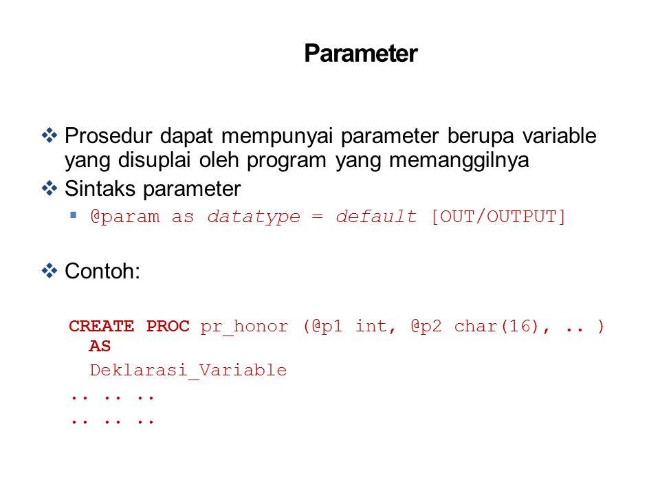 Parameter Prosedur dapat mempunyai parameter berupa variable yang disuplai oleh program yang memanggilnya.