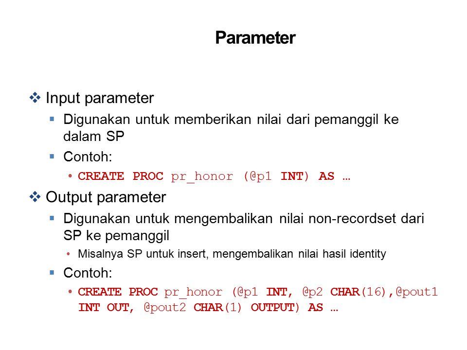 Parameter Input parameter Output parameter