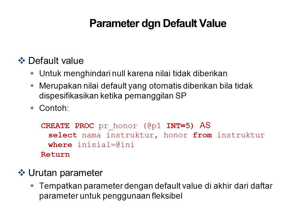 Parameter dgn Default Value