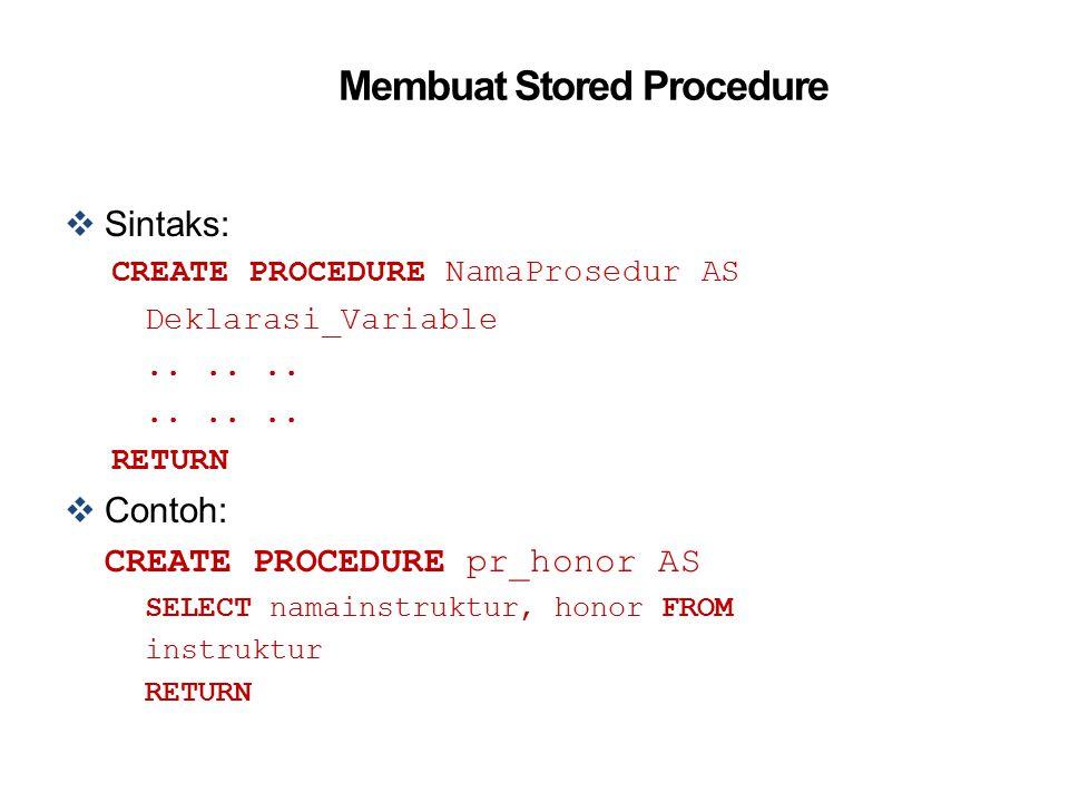 Membuat Stored Procedure