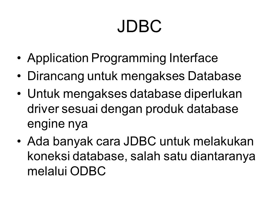 JDBC Application Programming Interface