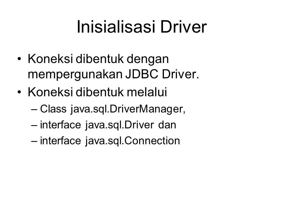 Inisialisasi Driver Koneksi dibentuk dengan mempergunakan JDBC Driver.