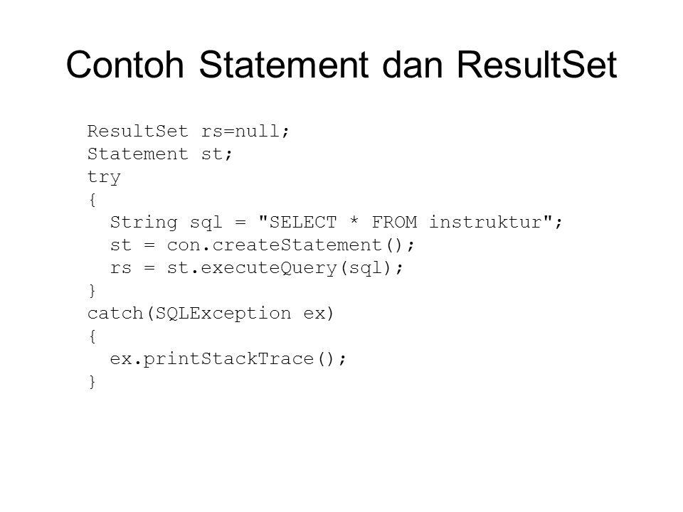 Contoh Statement dan ResultSet