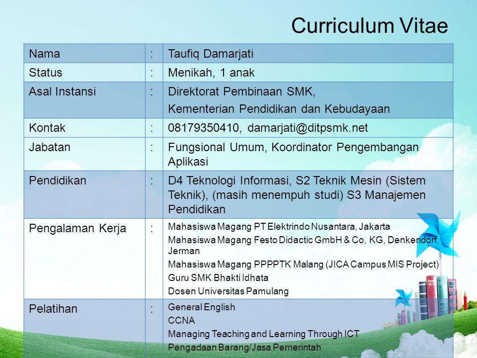 Curriculum Vitae Nama : Taufiq Damarjati Status Menikah, 1 anak