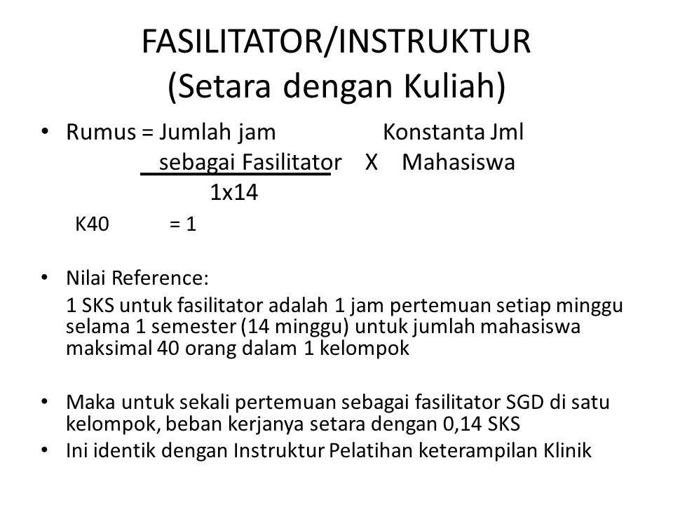 FASILITATOR/INSTRUKTUR (Setara dengan Kuliah)