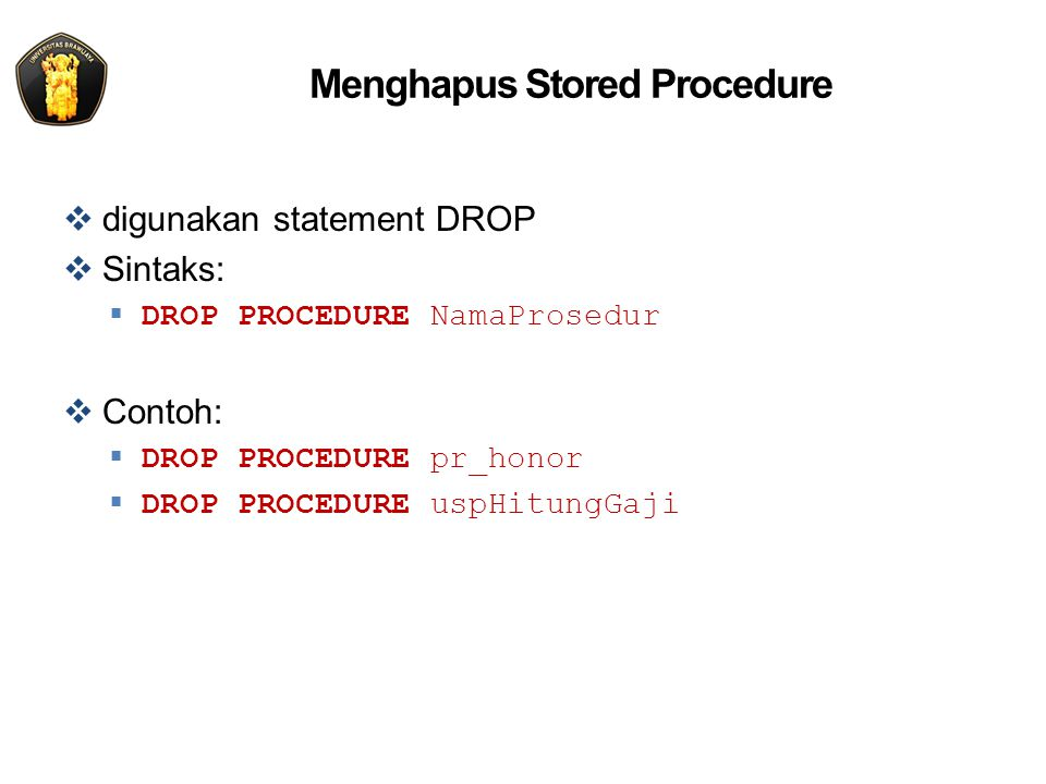 Menghapus Stored Procedure