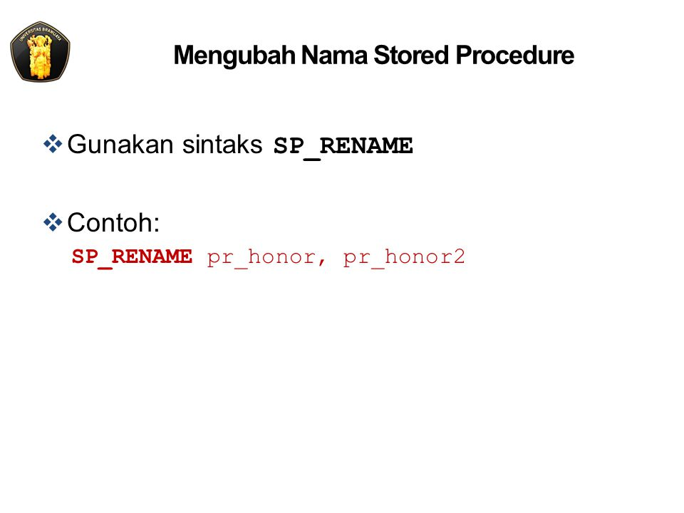Mengubah Nama Stored Procedure