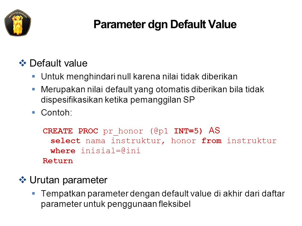 Parameter dgn Default Value