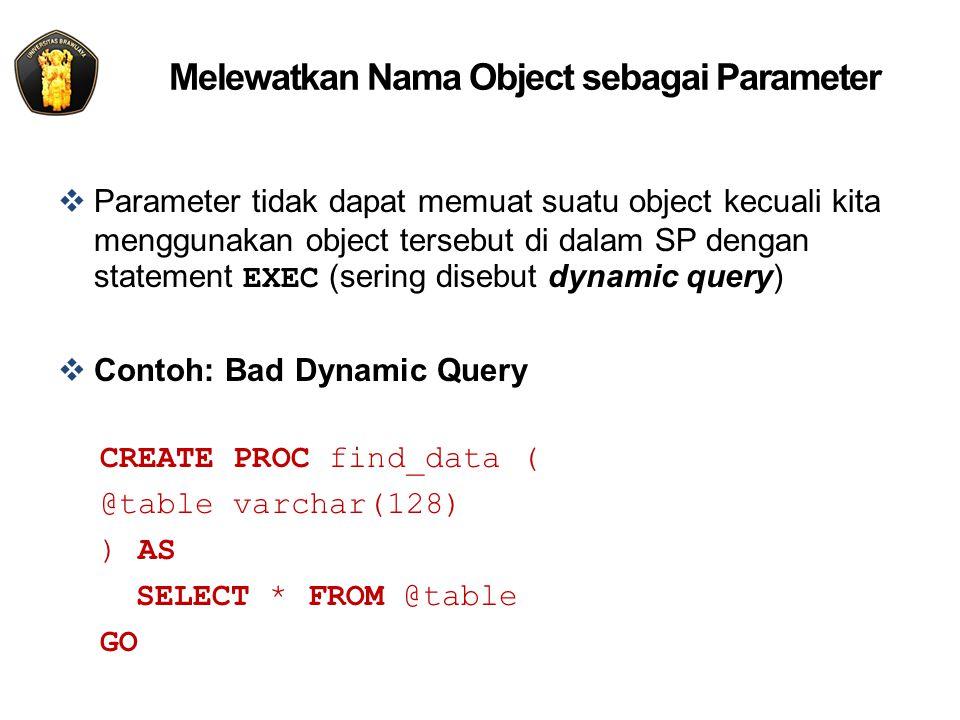 Melewatkan Nama Object sebagai Parameter