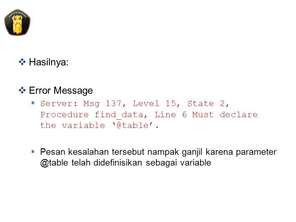 Hasilnya: Error Message