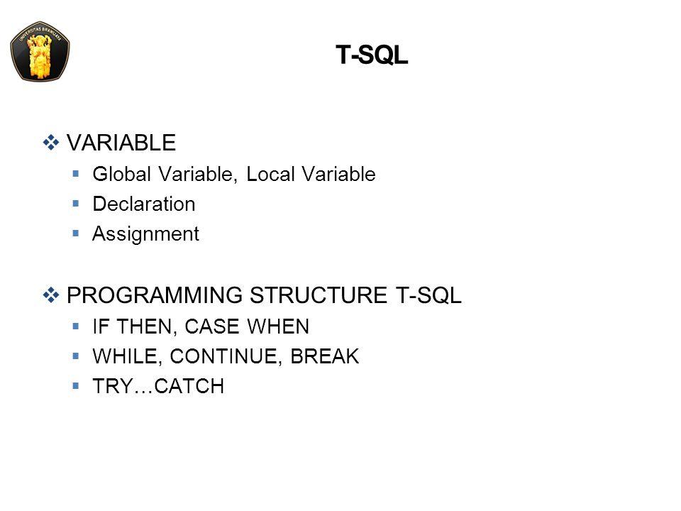 T-SQL VARIABLE PROGRAMMING STRUCTURE T-SQL