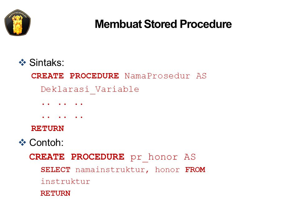 Membuat Stored Procedure