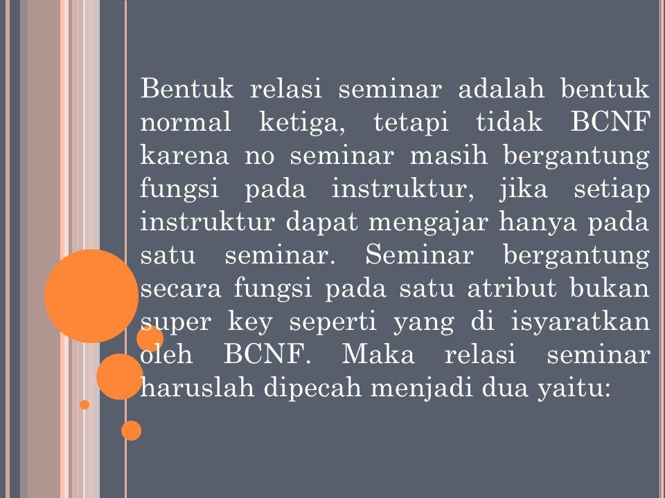 Bentuk relasi seminar adalah bentuk normal ketiga, tetapi tidak BCNF karena no seminar masih bergantung fungsi pada instruktur, jika setiap instruktur dapat mengajar hanya pada satu seminar.